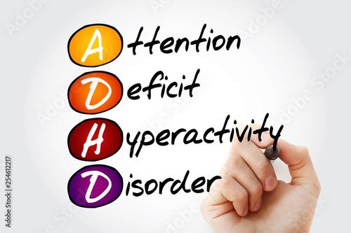 ADHD - Attention Deficit Hyperactivity Disorder, acronym with marker, concept ba Canvas Print
