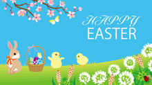Easter Bunny And Two Chicks Pl...