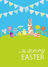"""Easter Bunny And Chick In The Spring Nature With Bunting Decoration, Including Greeting Words """"HAPPY EASTER"""""""