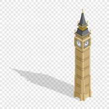 Isometric Highly Detailed Big Ben Tower On Transparent Background. Vector Illustration.