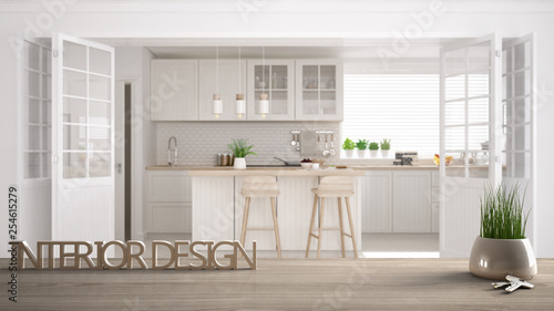 Wooden Table Desk Or Shelf With Potted Grass Plant House Keys And 3d Letters Making The Words Interior Design Over Blurred Scandinavian Kitchen Project Concept Background Buy This Stock Photo And