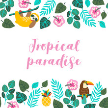 Hand Drawn Tropical Greeting C...