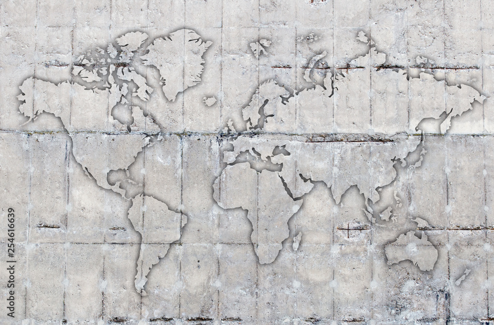 Fototapety, obrazy: world map outline on concrete background