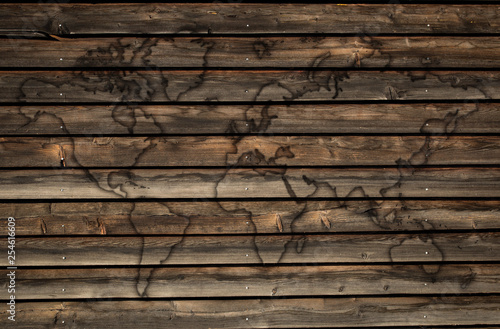 world map outline on wood planks texture - Buy this stock ...