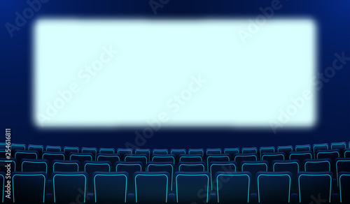 Realistic Rows Of Blue Chairs Cinema And White Blank Screen In The Darkness Cinema Auditorium And Movie Theater Seats Facing Empty Scene Design Vector Cinema Flat Style Cartoon Illustration Buy This