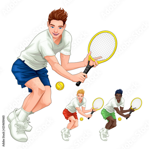 Spoed Foto op Canvas Kinderkamer Three tennis players with different hair, skin and dress colors