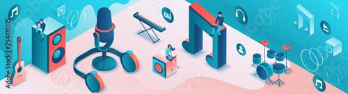 Stampa su Tela Modern music radio show or audio blog concept, podcast isometric 3d illustration