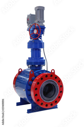 Photo  modern shut-off valve with automatic and manual control for a gas pipeline isola