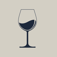 Wine Glass Icon With Wine. Iso...