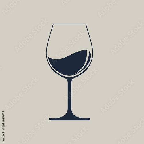 Wine glass icon with wine. Isolated sign glass of wine on white background. Vector illustration. Fototapete