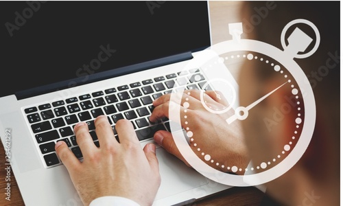 Foto op Plexiglas Europa Woman typing computer.