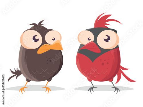 funny cartoon bird looking at red cardinal bird Canvas Print