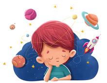 Niño Imaginando Y Soñ