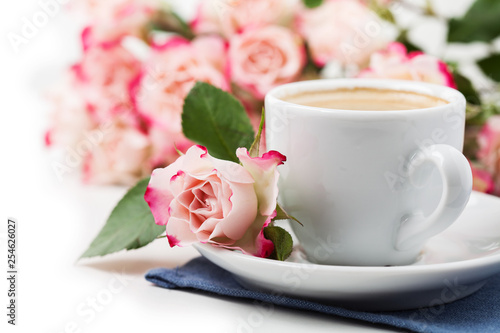 Romantic setup with coffee and roses