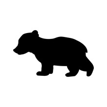 Bear Cub Wild Black Silhouette Animal