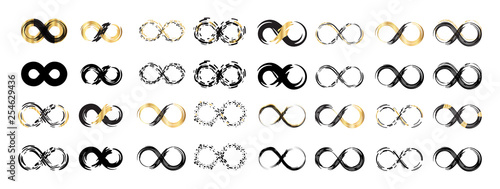Fotografie, Obraz  Black Brush Stroke Infinity, Eternity or Moebius Vector Symbol