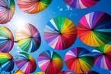 Fototapeta Rainbow - Rainbow umbrella colorful rainbow