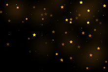Gold Stars Bokeh Overlay, Stars Photo Overlay, Abstract Background, Shiny Gold And Yellow Stars Flowing Around. Photo Overlay Effect, Stars Bokeh On Black Background, JPG File.