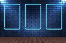 Set Neon Frames On Brick Wall For Decoration Signboard In Retro Interior Theater, Casino, Shop, Club Or Bar