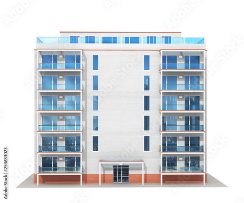 Fototapeta Multistory building.New modern residential building. 3d illustration obraz