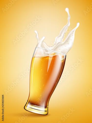 Printed kitchen splashbacks Beer / Cider Glass with splashing beer
