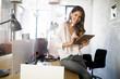 Start up of enterprise, women leader the new company self confident