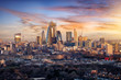 canvas print picture - Panorama der City of London, Finanzztentrum Großbritanniens, bei Sonnenaufgang