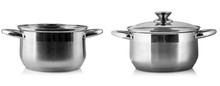 The Stainless Steel Cooking Pot Over White Background