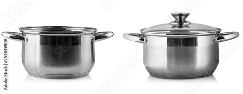 Stampa su Tela The stainless steel cooking pot over white background