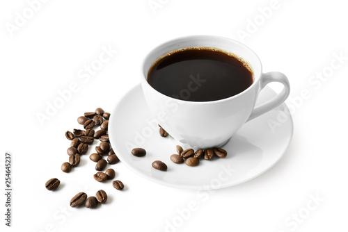 Tuinposter koffiebar Czarna kawa w filiżance na białym tle