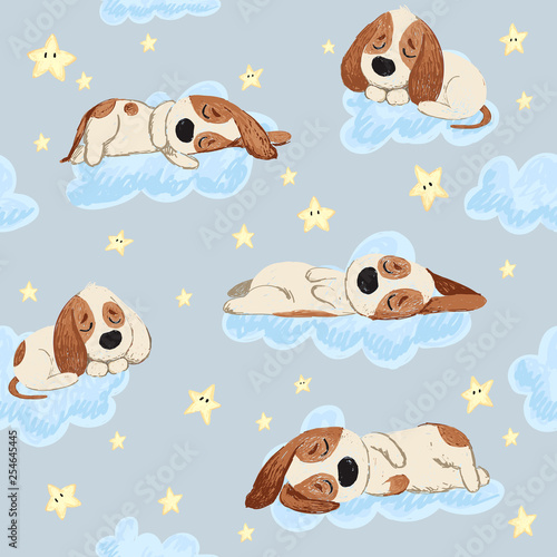 obraz lub plakat Good night seamless pattern with cute sleeping puppies, moon, stars and clouds. Sweet dreams background. Childish lovely doodle hand drawn vector illustration.