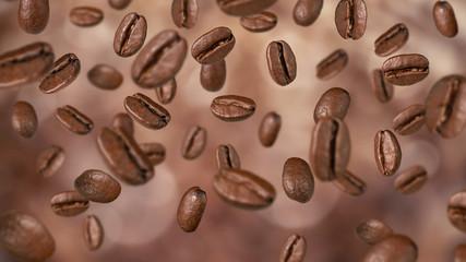 Fototapeta Do gastronomi Spadające ziarna kawy