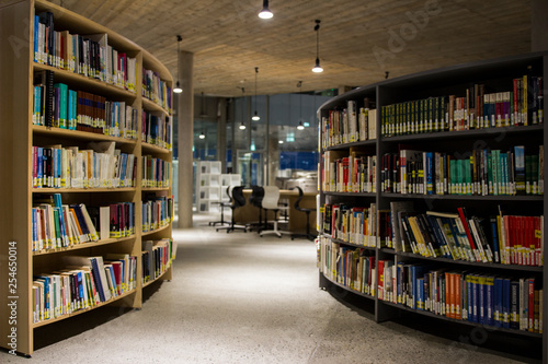 Fotografie, Obraz  A library in a college in the Faroe Islands