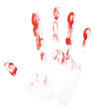 Red Finger Prints Isolated On White Background