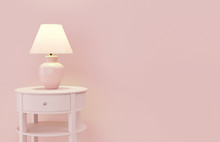 Stylish Lamp On Table Against Color Wall, Space For Text. Design With Living Coral Color