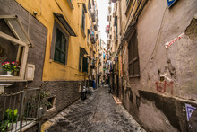 NAPLES, ITALY - November, 2018: Classical Romantic Small Street In The Historical Center Of Naples, Italy. Naples Is The The Third-largest City In Italy With About 1 Million Residents