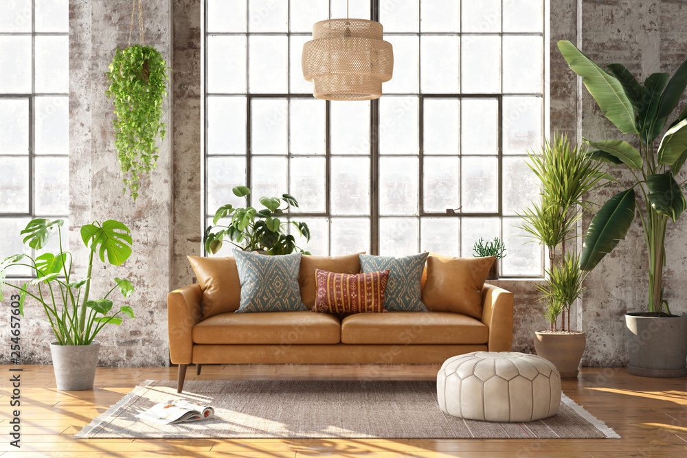 Fototapety, obrazy: 3d rendering of a bohemian style living room