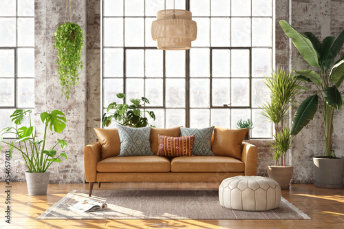 Photo  3d rendering of a bohemian style living room