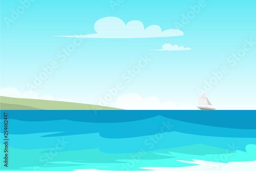 Türaufkleber Turkis Seascape, seashore flat vector color illustration