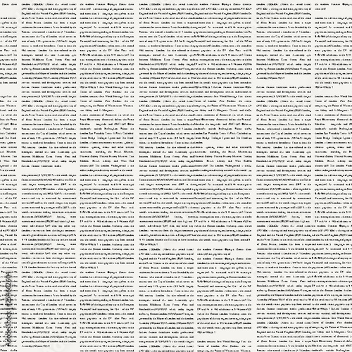 Fototapeten Künstlich Vector seamless pattern with newspaper columns. Text in newspaper page unreadable. Black and white repeating newspaper vector background.