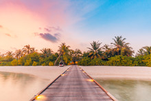 Beautiful Sunset Beach Scene. Colorful Sky And Clouds View With Calm Sea And Relaxing Tropical Mood