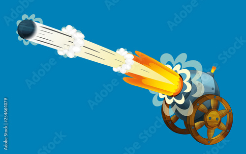 Obraz na plátne Cartoon cannon shooting steel ball on white background - illustration for the ch