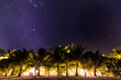 Milky Way galaxy rise above Maldives island. Long exposure photograph with grain