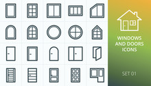 Windows And Doors Icons Set. S...
