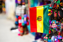 Closeup Of Small Bolivian Flag Hanging With Keychains