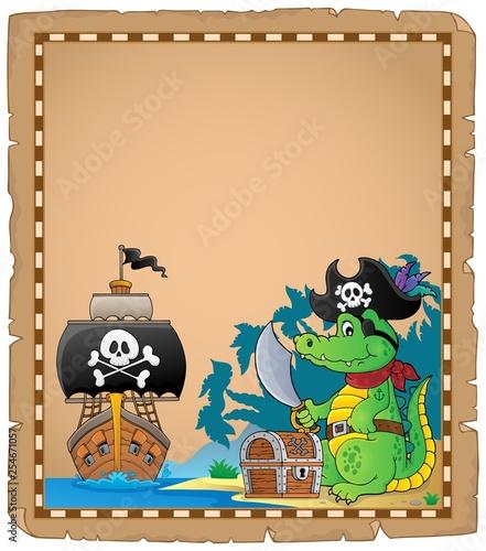 Foto op Canvas Voor kinderen Parchment with pirate crocodile on coast
