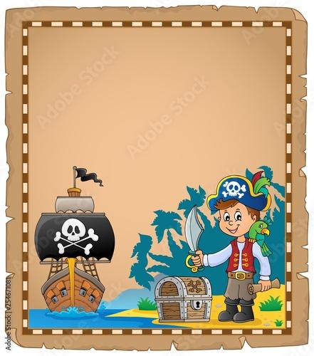 Foto op Canvas Voor kinderen Pirate boy on coast theme parchment 1