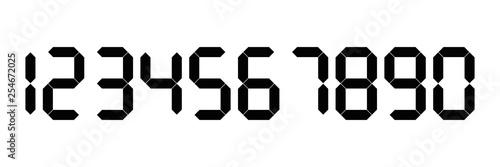 Obraz Black digital numbers. Seven-segment display is used in calculators, digital clocks or electronic meters. Vector illustration - fototapety do salonu