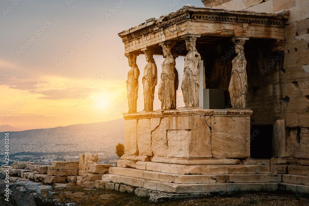 Fototapety, obrazy: Figures of Caryatids Porch of the Erechtheion on the Parthenon on Acropolis Hill, Athens, Greece