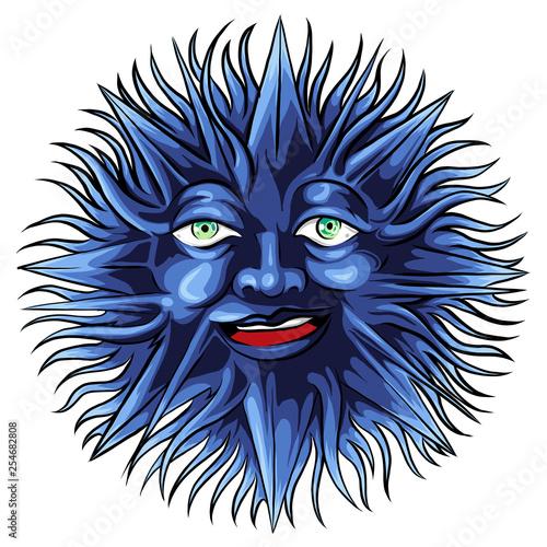 Poster Croquis dessinés à la main des animaux face tattoo of a sun vector illustration